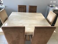 Marble Dining Room Table, matching coffee table and 6 Chairs