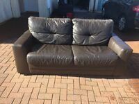 3 seater sofa bed and 2 seater sofa - brown leather