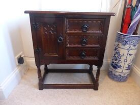 Reproduction Dark Oak Hall cabinet - with 3 drawers..