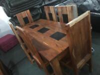 Quality solid wood dinning Table and 6 chairs