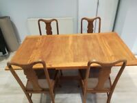 Vintage extendable dining table and chairs. Recently waxed. Gorgeous piece of furniture