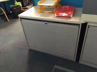 desk high tambour cupboards in grey and black