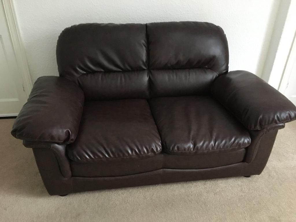 Small Settee Sofa Brown Leather