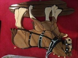 Wooden handmade clydes dale horse and colt