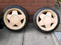 "Borbet style 15"" 4x100 alloy wheels with tires"