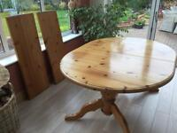 Solid pine extendable dining room table