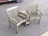 SOLID TEAK WOOD TWIN SEAT \ GARDEN BENCH ~~ SOLID CONDITION ~~ MAY DELIVER WEST MIDLANDS