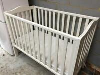 John Lewis White baby cot with mattress