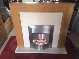 Electric fire, hearth and mantle.