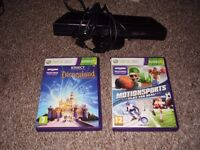 XBOX 360 KINNECT AND 2 GAMES