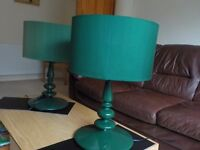 2 dark green 70s retro style habitat lamps