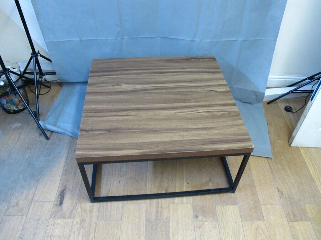 Mid-Century Style Walnut Colour Coffee Table Side Table with Black Metal  Frame | in Exhall, West Midlands | Gumtree