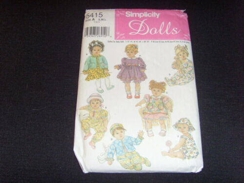 """SIMPLICITY DOLL PATTERN - 5415 - UNCUT - FOR DOLLS  12""""-14"""", 16""""-18"""", 20""""-22"""""""