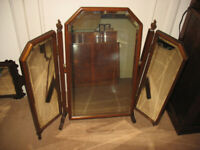 Tryptych triptych tri-fold triple swing mirror for dressing table/ chest top, free-standing, vintage