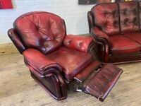CHESTERFIELD DESIGN LEATHER RECLINER SOFA ARM CHAIR FREE DELIVERY