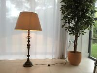A very large Italian style contemporary floor/table lamp, elegantly shaped with a cream shade.