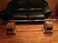Olympic Weightlifting bar and wooden blocks used bar but solid condition and blocks are brand new