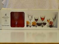 Set of six wine glasses manufactured by the reputable French Luminarc