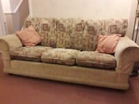 3 seater sofa bed plus 2 matching arm chairs from Ikea. Re covered in fire retardant material.