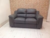 Italian Grey Leather 2 Seater Sofa And Storage Footstool