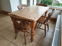 Beautiful farmhouse style waxed wooden table and 4 chairs