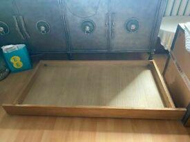 FUTON COMPANY OKE. OAK UNDER BED FUTON SOFA BED STORAGE DRAWER. COST £85.00