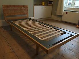 Mid Century Hans Wegner Getama Single Bed Rattan/Light Oak