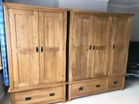 Selling 1 Double & 1 Triple Wardrobe originally bought from Oak Furniture Land