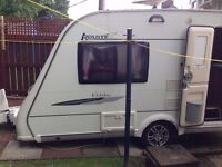 Elddis Avante Club (362 model), 2 berth Caravan, 2008 with awning and motor mover.