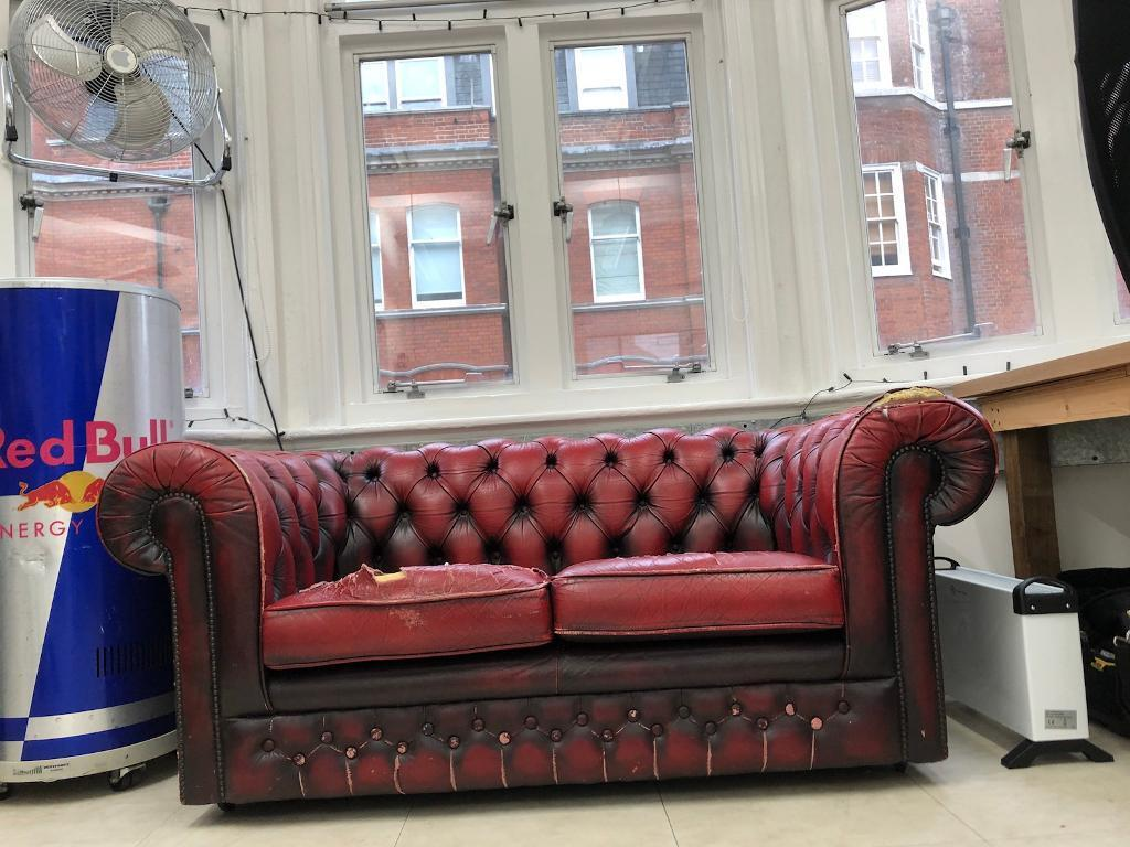 2 Seater Chesterfield Sofa Red Leather Vintage In