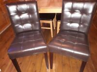 2 faux leather button back chairs brown ex display new