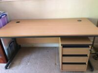 Beech Desk & Drawers