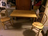 Nice rectangular wooden table and two chairs for sale – ideal for dining room or kitchen -£20