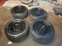 BBS Style Rep Alloys 4x100 15x7 With Good Tyres Civic Corsa