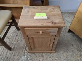 Wooden pine side cabinet with draw