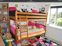Bunk beds very chunky pine, not used much as bought for granddaughters visiting UK