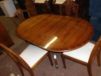 DROP LEAF DINNING TABLE AND 4 CHAIRS