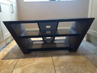 Glass and veneer TV stand