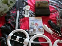 WII BLACK CONSOLE BUNDLE,MARIO KART + 3 WHEELS + 3RD PARTY WII REMOTE + NUNCHUCK.