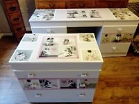 Upcycled vintage chest of drawers & dressing table, with beautiful vintage decoupage & lace trim.
