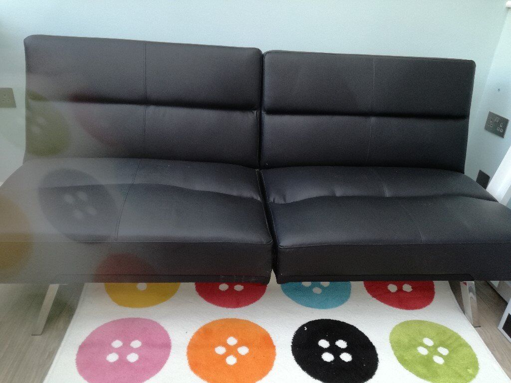Awesome Clic Clac Sofa Bed Black Faux Leather In St Neots Cambridgeshire Gumtree Home Interior And Landscaping Ologienasavecom
