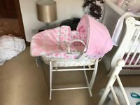 Pink Moses basket for sale Clair de lune basically brand new