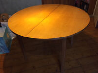 Round Table with 2 pine chairs