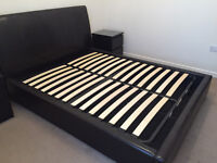 Bensons for Beds - (KING SIZE) - Vegas Black Faux Leather Ottoman Bed Frame