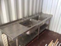 Commercial Catering Stainless Steel Sink - Double Bowl & Double Drainer 2.4m