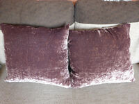 2 P2 Purple Satin Plush Scatter Cushions With Duck Feather Fillings approx 56cm x 56cm Made in UK