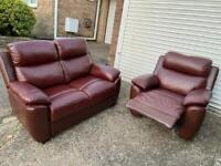 DFS real leather maroon 2 seater sofa with recliner arm chair in excellent condition