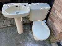 Cloakroom toilet and pedestal basin