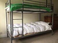 Ikea silver steel bunk bed 208 x 157 x 98 CMs