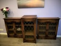 Beautiful Solid Oak Bookcases and Drinks Cabinet